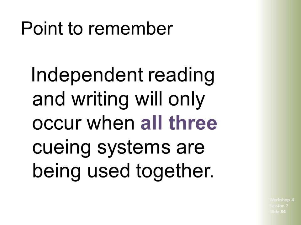 Point to remember Independent reading and writing will only occur when all three cueing systems are being used together. Workshop 4 Session 2 Slide 34