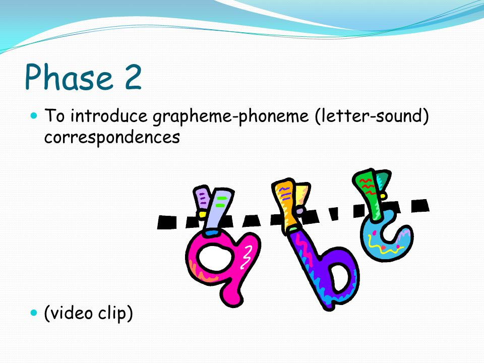 Phase 2 To introduce grapheme-phoneme (letter-sound) correspondences (video clip)