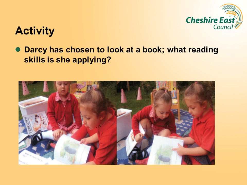 Activity Darcy has chosen to look at a book; what reading skills is she applying?