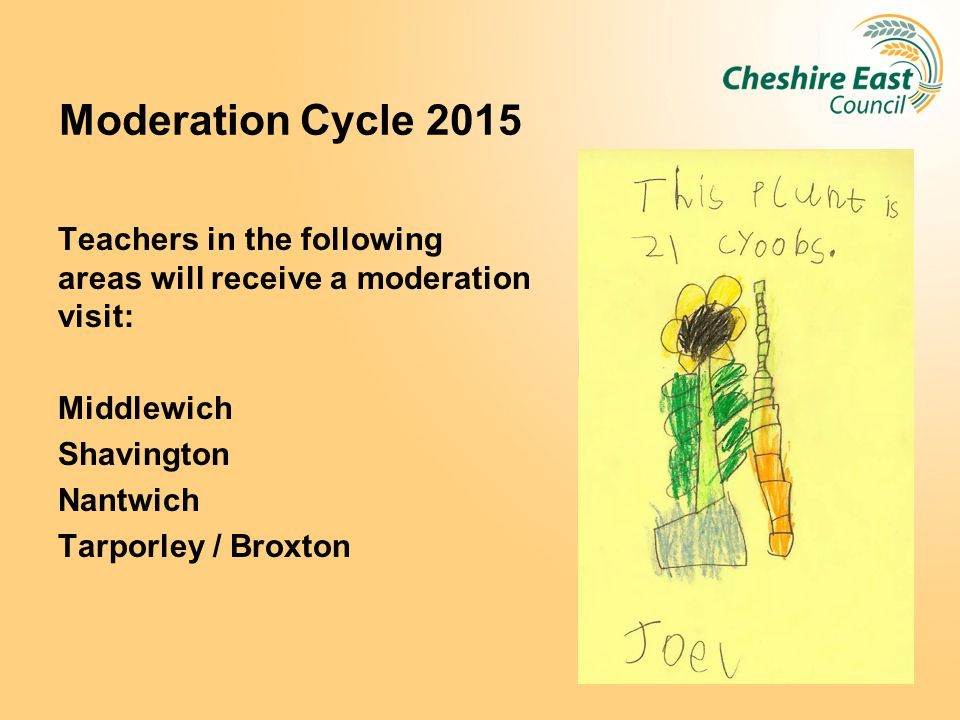 Moderation Cycle 2015 Teachers in the following areas will receive a moderation visit: Middlewich Shavington Nantwich Tarporley / Broxton