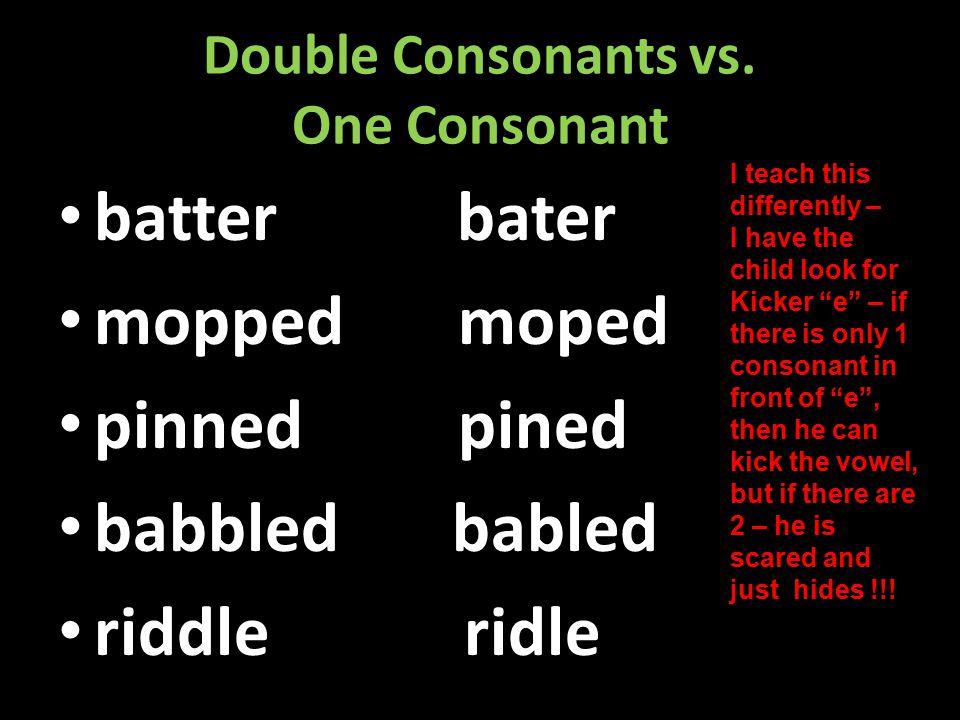 DOUBLE CONSONANTS DOUBLE CONSONANTS – Beginning to break up multi-syllabic words (The Twins) BREAK THEM UP !!!! BREAK THEM UP !!!! batter rabbit lesso