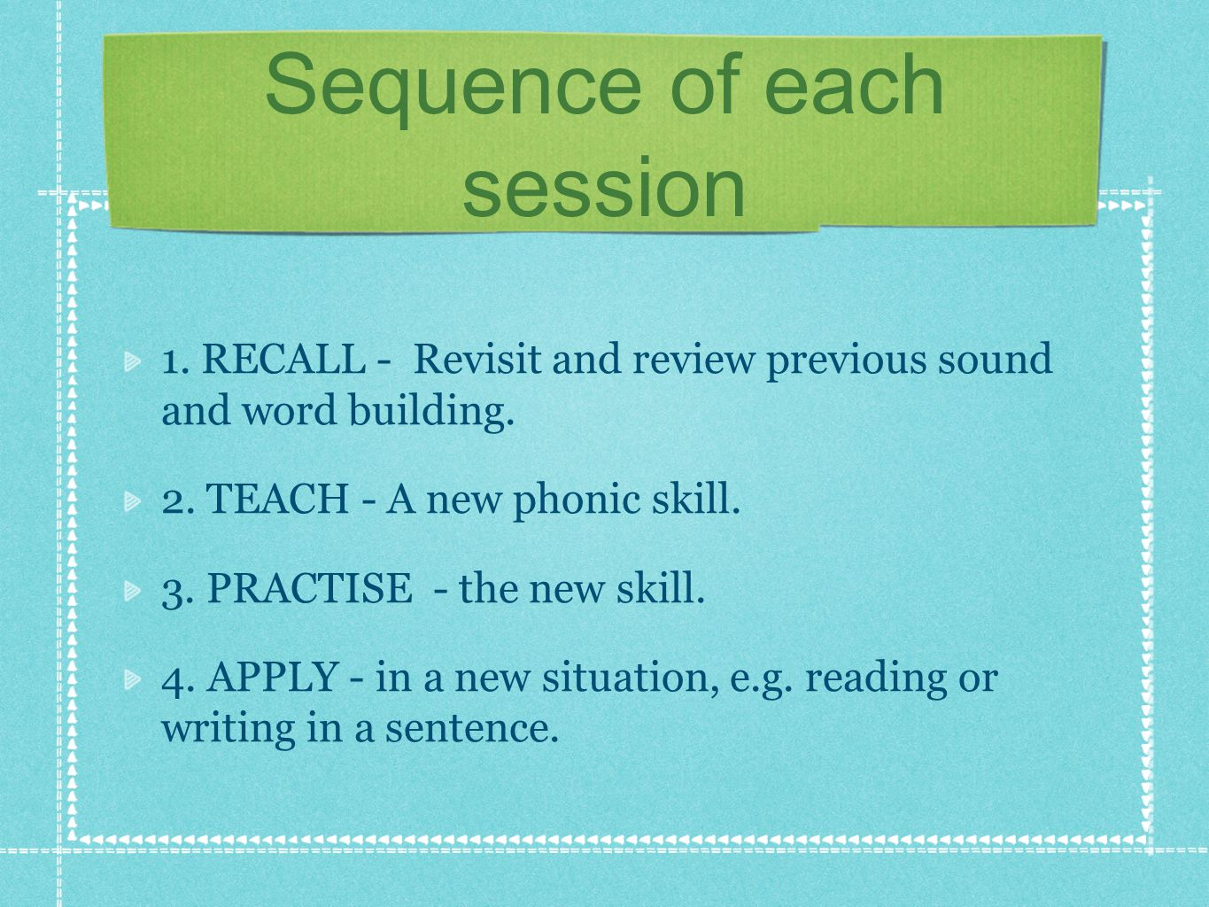 Overview of Phases Phase 1 : Rhyming, keeping rhythms and start to relate letter sounds to words, e.g.