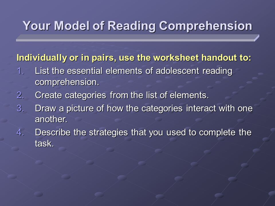 Your Model of Reading Comprehension Individually or in pairs, use the worksheet handout to: 1.List the essential elements of adolescent reading comprehension.