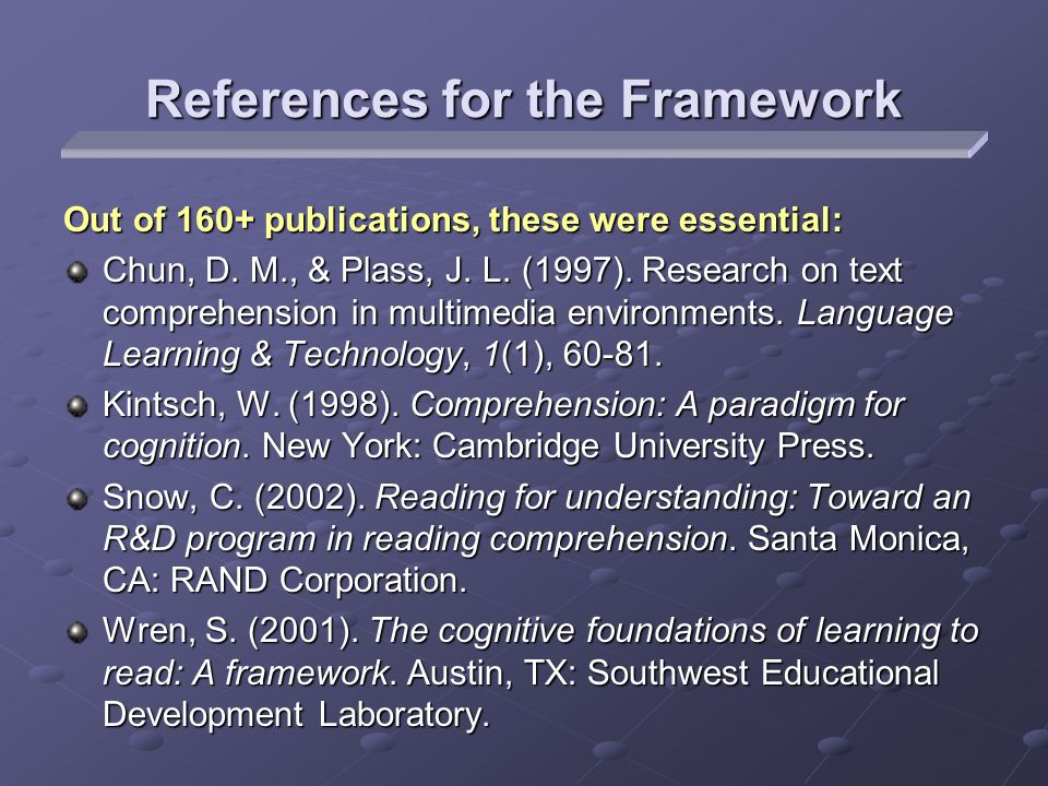 Out of 160+ publications, these were essential: Chun, D. M., & Plass, J. L. (1997). Research on text comprehension in multimedia environments. Languag