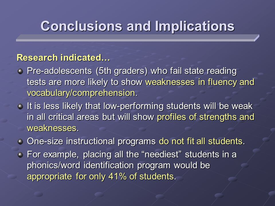 Research indicated… Pre-adolescents (5th graders) who fail state reading tests are more likely to show weaknesses in fluency and vocabulary/comprehension.