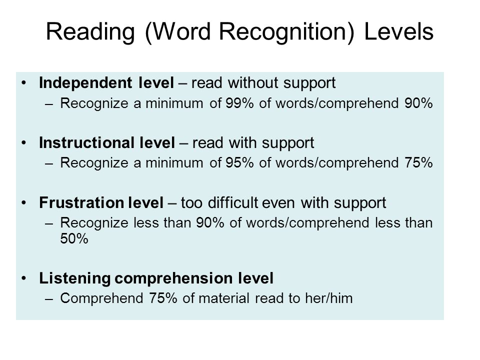 Reading (Word Recognition) Levels Independent level – read without support –Recognize a minimum of 99% of words/comprehend 90% Instructional level – read with support –Recognize a minimum of 95% of words/comprehend 75% Frustration level – too difficult even with support –Recognize less than 90% of words/comprehend less than 50% Listening comprehension level –Comprehend 75% of material read to her/him