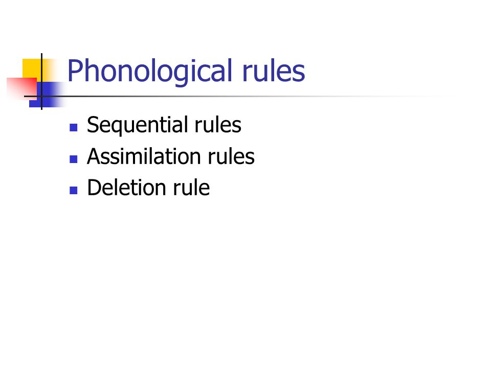 Phonological rules Sequential rules Assimilation rules Deletion rule