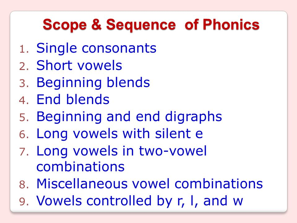 Scope & Sequence of Phonics 1. Single consonants 2.