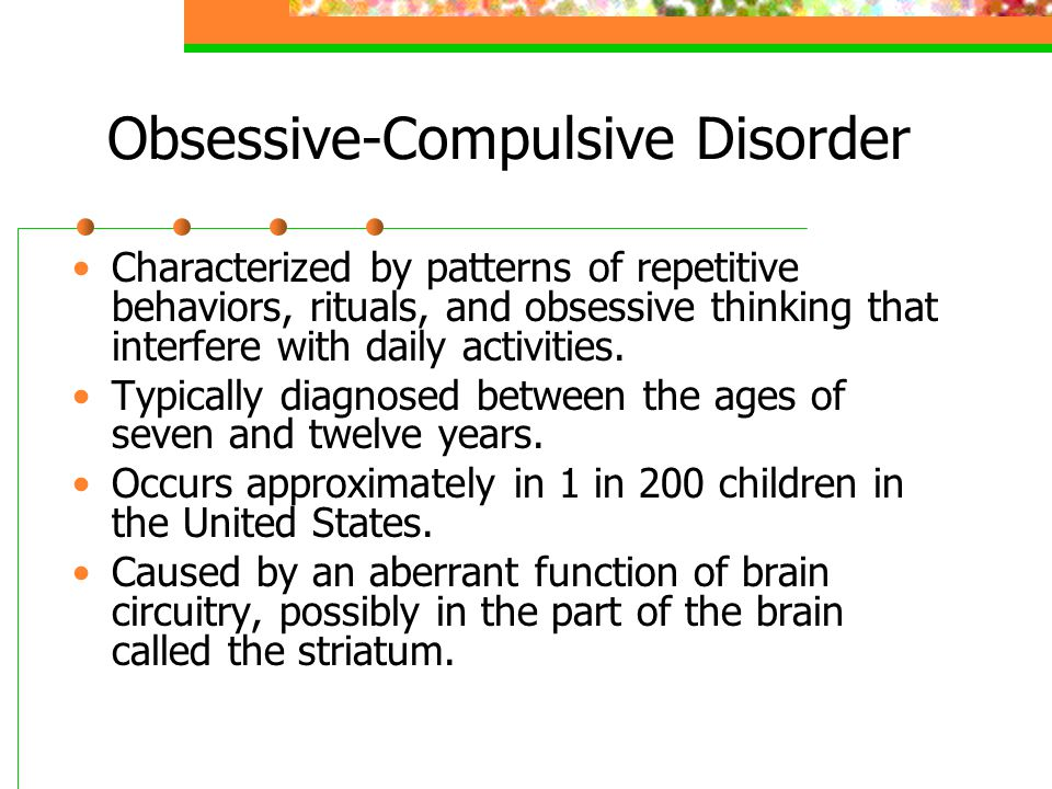 Obsessive-Compulsive Disorder Characterized by patterns of repetitive behaviors, rituals, and obsessive thinking that interfere with daily activities.