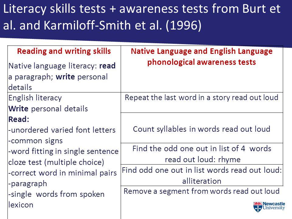 Literacy skills tests + awareness tests from Burt et al.