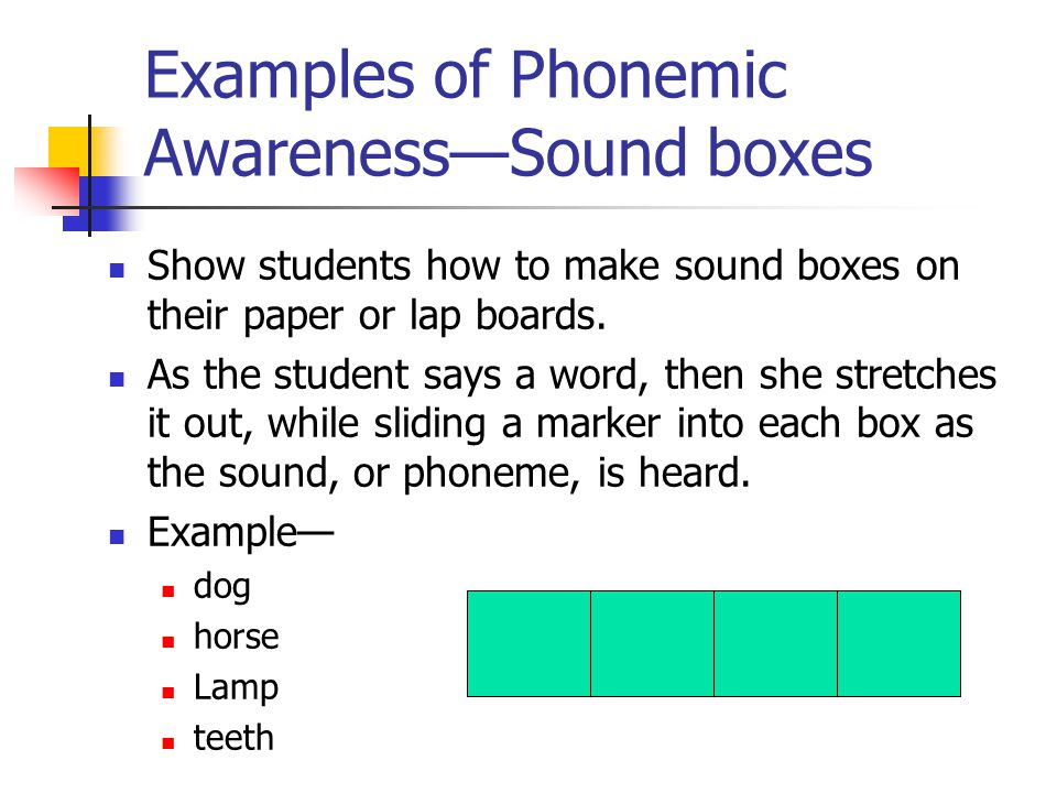 Examples of Phonemic Awareness—Sound boxes Show students how to make sound boxes on their paper or lap boards.