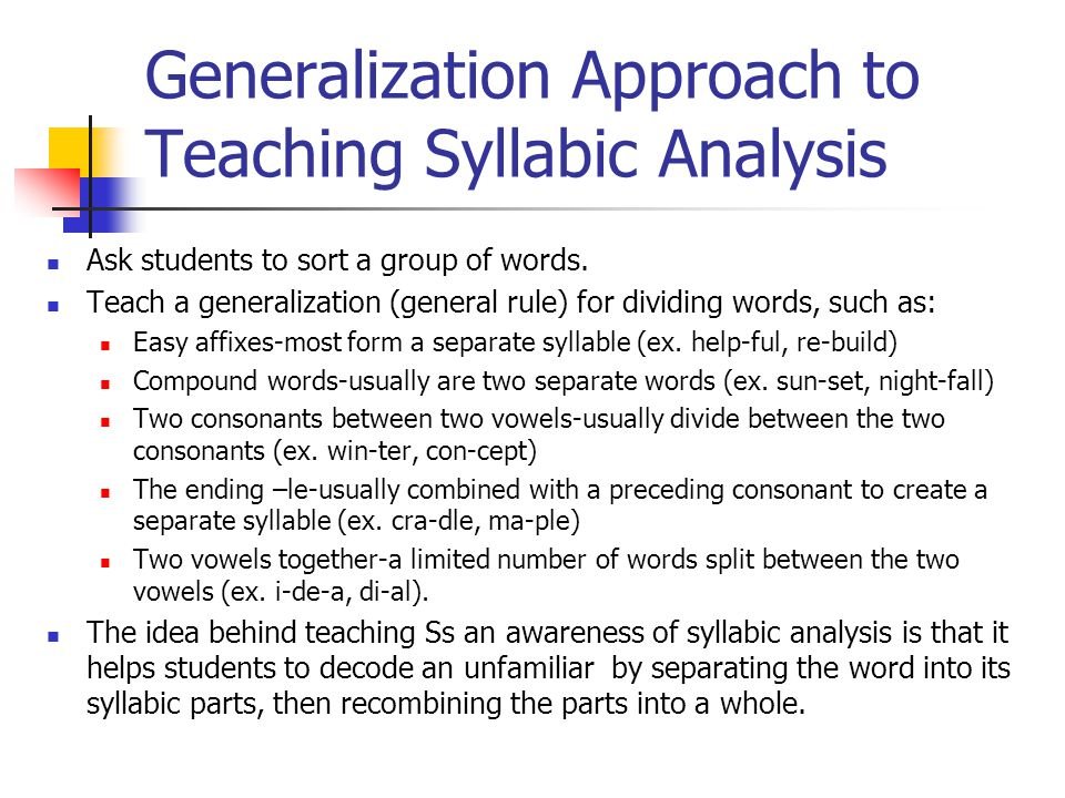 Generalization Approach to Teaching Syllabic Analysis Ask students to sort a group of words.