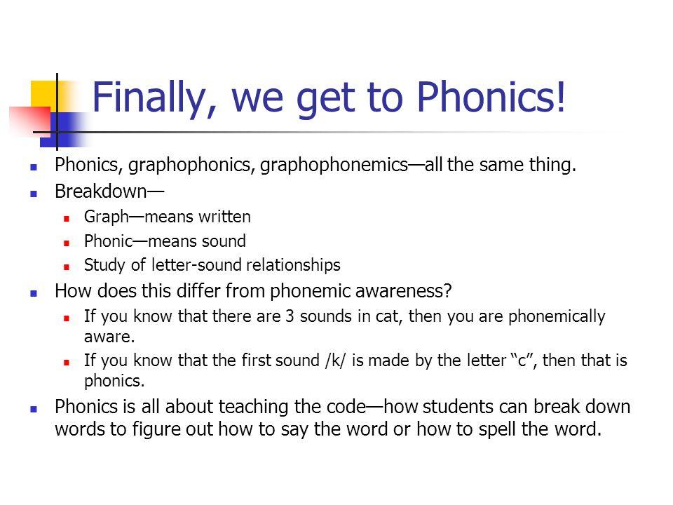 Finally, we get to Phonics.Phonics, graphophonics, graphophonemics—all the same thing.