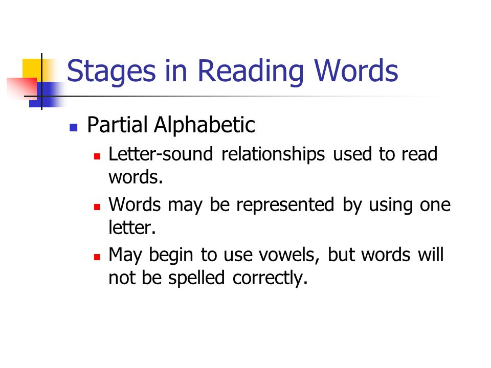 Stages in Reading Words Partial Alphabetic Letter-sound relationships used to read words.