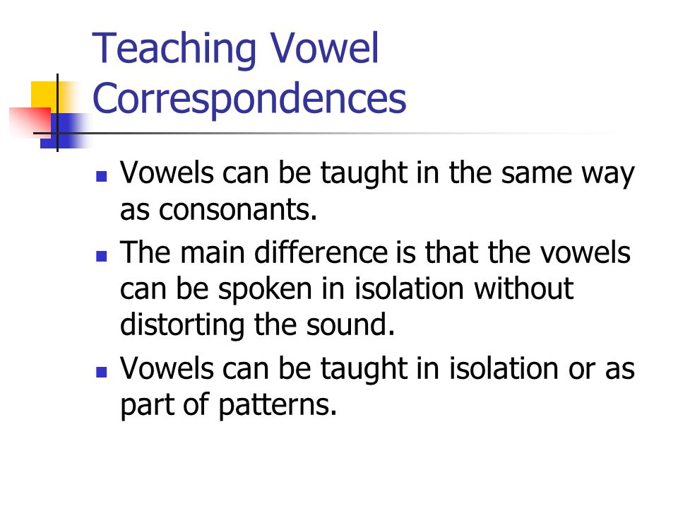 Teaching Vowel Correspondences Vowels can be taught in the same way as consonants.