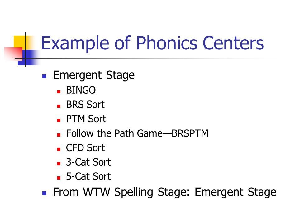 Example of Phonics Centers Emergent Stage BINGO BRS Sort PTM Sort Follow the Path Game—BRSPTM CFD Sort 3-Cat Sort 5-Cat Sort From WTW Spelling Stage: Emergent Stage