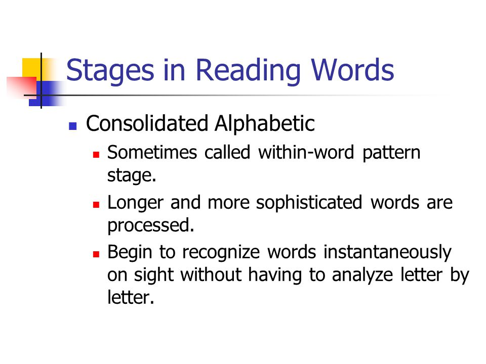 Stages in Reading Words Consolidated Alphabetic Sometimes called within-word pattern stage.