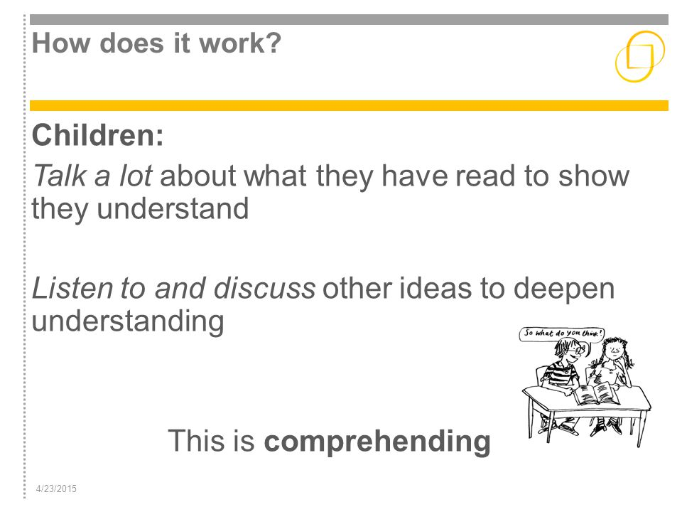 4/23/2015 How does it work? Children: Talk a lot about what they have read to show they understand Listen to and discuss other ideas to deepen underst