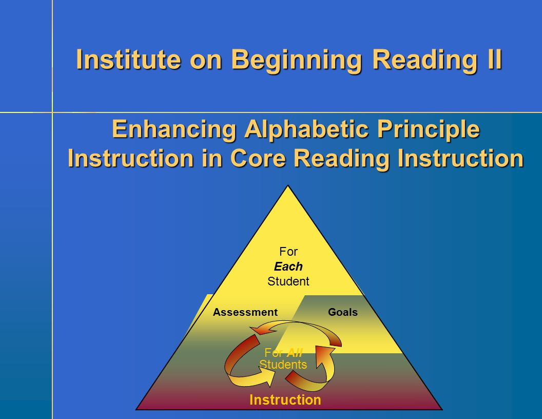 Instruction Goals Assessment For Each Student For All Students Enhancing Alphabetic Principle Instruction in Core Reading Instruction Institute on Beg