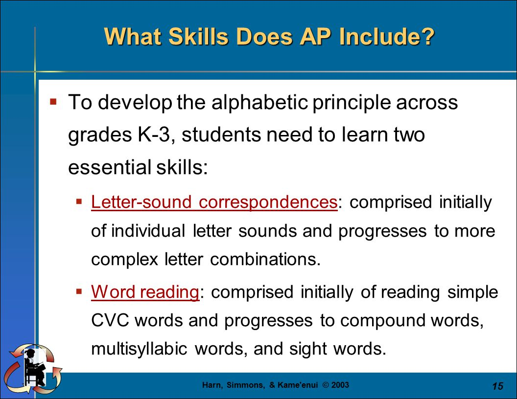 Harn, Simmons, & Kame'enui © 2003 15 What Skills Does AP Include?  To develop the alphabetic principle across grades K-3, students need to learn two