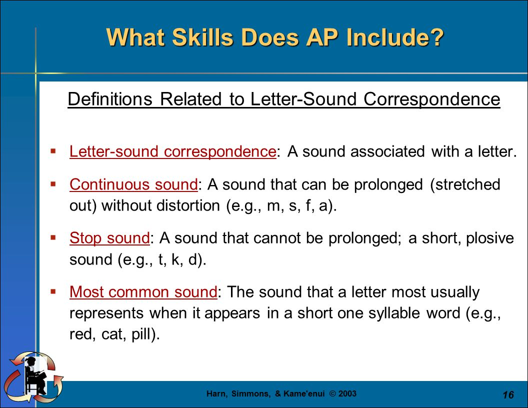 Harn, Simmons, & Kame'enui © 2003 16 What Skills Does AP Include? Definitions Related to Letter-Sound Correspondence  Letter-sound correspondence: A
