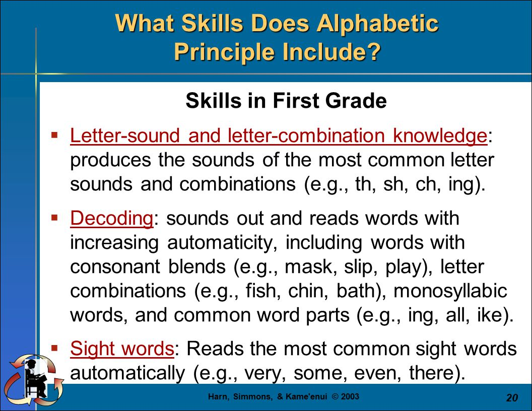 Harn, Simmons, & Kame'enui © 2003 20 Skills in First Grade  Letter-sound and letter-combination knowledge: produces the sounds of the most common let