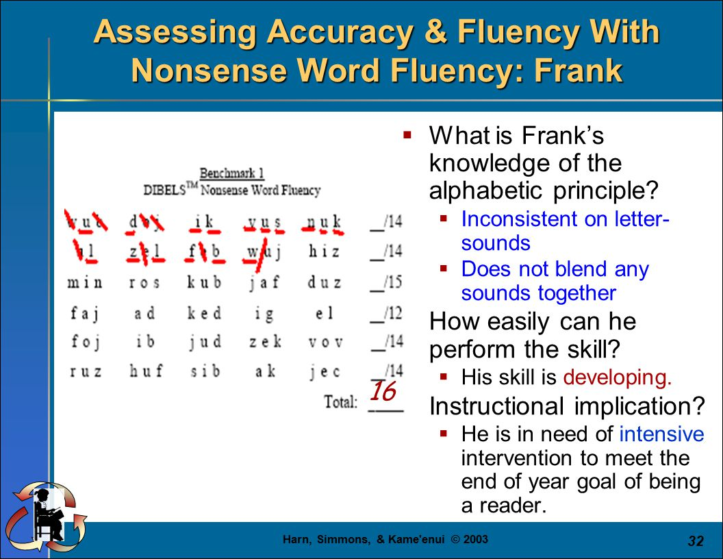 Harn, Simmons, & Kame'enui © 2003 32  What is Frank's knowledge of the alphabetic principle?  Inconsistent on letter- sounds  Does not blend any so