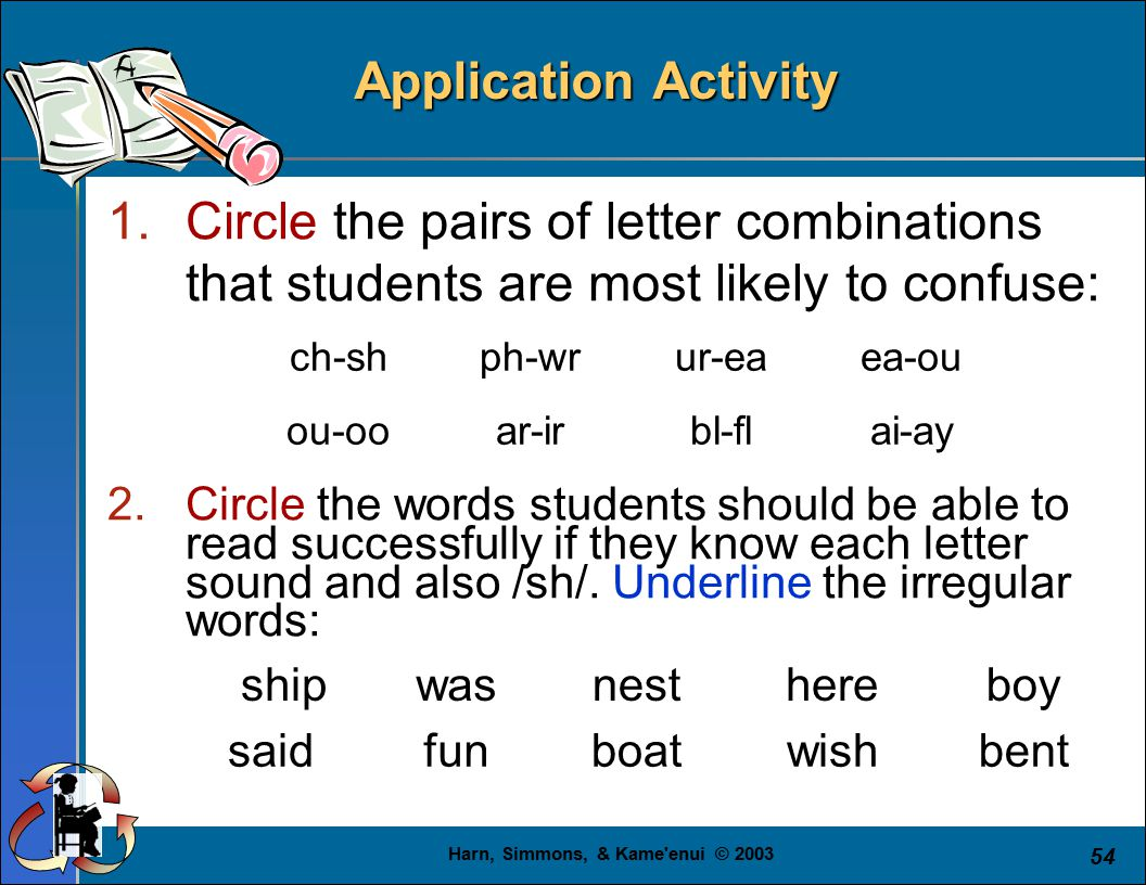 Harn, Simmons, & Kame enui © 2003 54 Application Activity 1.Circle the pairs of letter combinations that students are most likely to confuse: 2.Circle the words students should be able to read successfully if they know each letter sound and also /sh/.