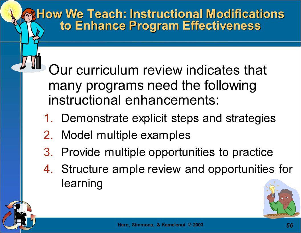 Harn, Simmons, & Kame enui © 2003 56 How We Teach: Instructional Modifications to Enhance Program Effectiveness  Ou r curriculum review indicates that many programs need the following instructional enhancements: 1.Demonstrate explicit steps and strategies 2.Model multiple examples 3.Provide multiple opportunities to practice 4.Structure ample review and opportunities for learning