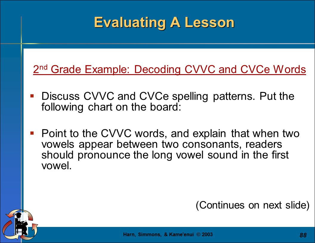 Harn, Simmons, & Kame enui © 2003 88 Evaluating A Lesson 2 nd Grade Example: Decoding CVVC and CVCe Words  Discuss CVVC and CVCe spelling patterns.