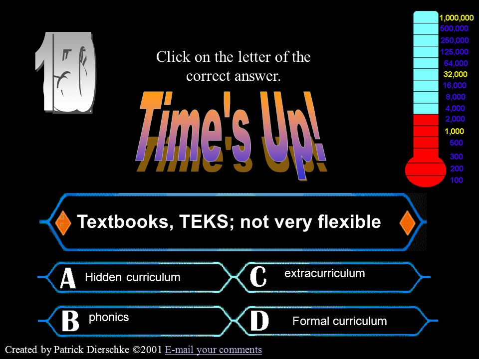 Created by Patrick Dierschke ©2001 E-mail your commentsE-mail your comments Textbooks, TEKS; not very flexible Click on the letter of the correct answer.