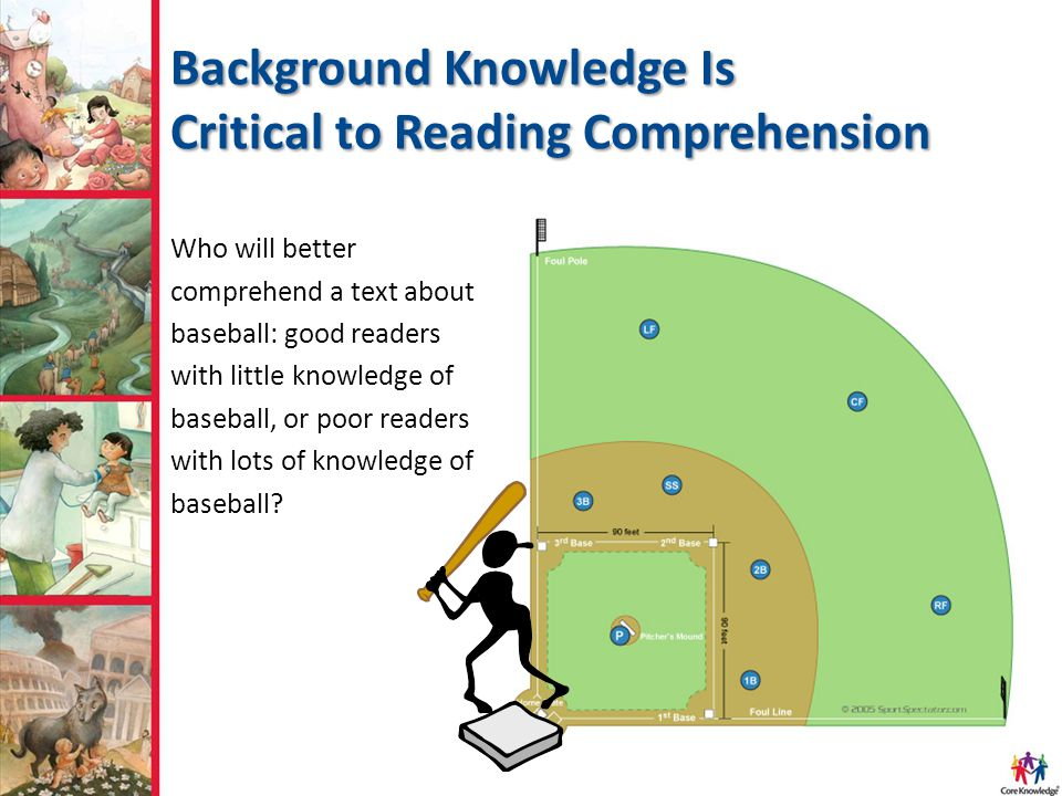 Background Knowledge Is Critical to Reading Comprehension Who will better comprehend a text about baseball: good readers with little knowledge of baseball, or poor readers with lots of knowledge of baseball
