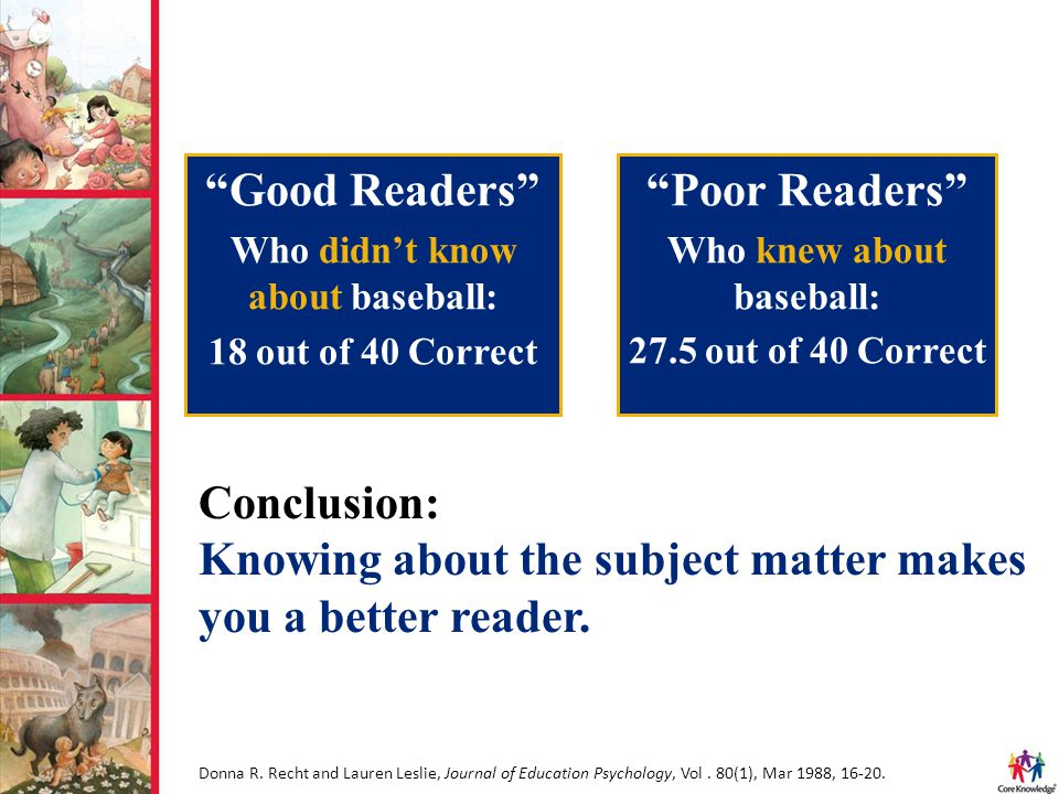 Conclusion: Knowing about the subject matter makes you a better reader. Donna R. Recht and Lauren Leslie, Journal of Education Psychology, Vol. 80(1),