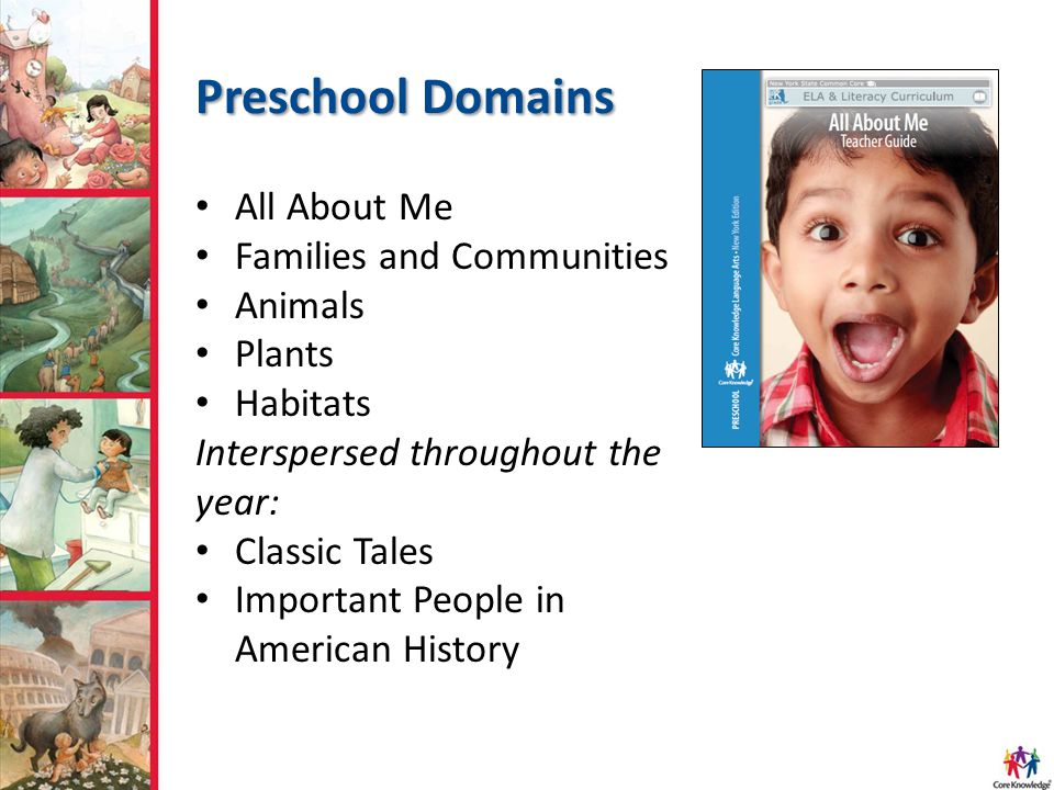 Preschool Domains All About Me Families and Communities Animals Plants Habitats Interspersed throughout the year: Classic Tales Important People in Am