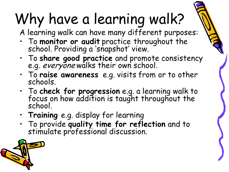How do you organise a learning walk.Decide on a focus - pre-set criteria or your own.