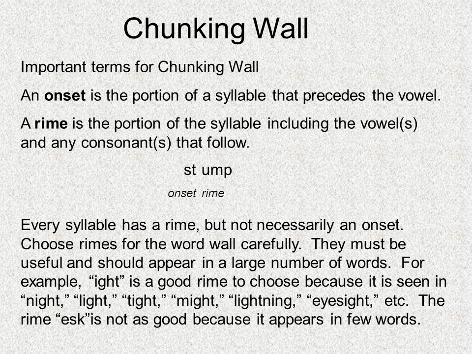 Important terms for Chunking Wall An onset is the portion of a syllable that precedes the vowel. A rime is the portion of the syllable including the v