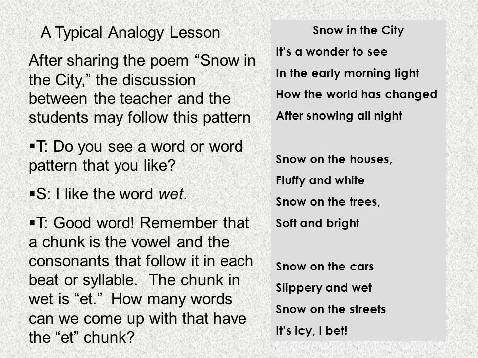 """A Typical Analogy Lesson After sharing the poem """"Snow in the City,"""" the discussion between the teacher and the students may follow this pattern  T: D"""
