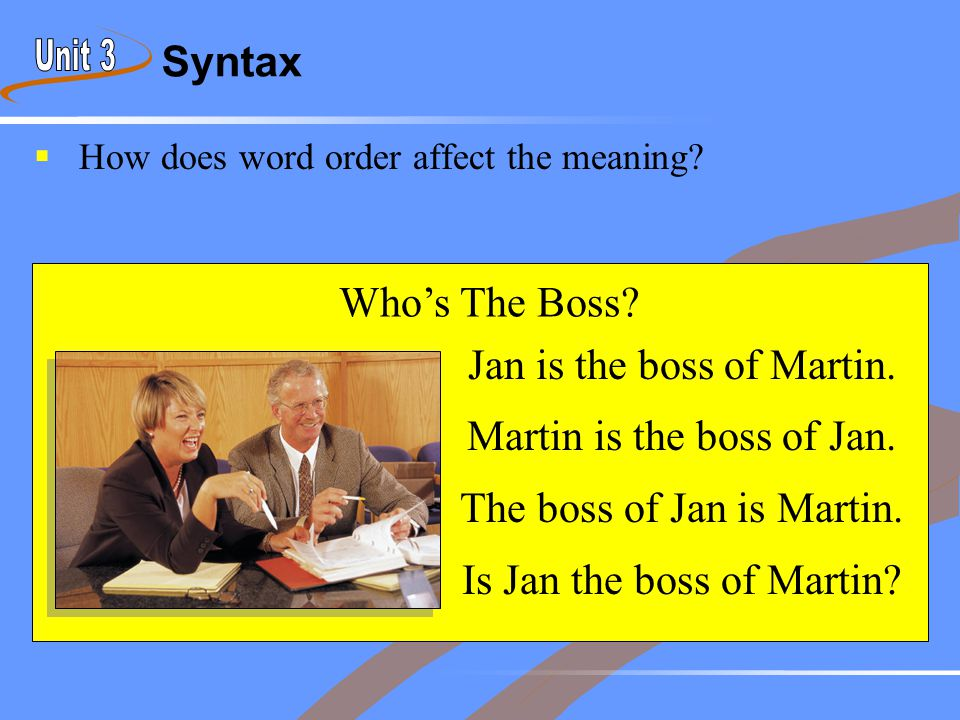 Syntax  How does word order affect the meaning? Jan is the boss of Martin. Martin is the boss of Jan. The boss of Jan is Martin. Is Jan the boss of M