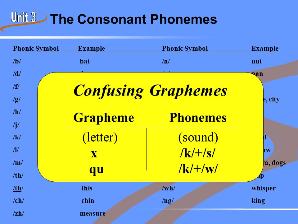 The Consonant Phonemes Phonic Symbol ExamplePhonic SymbolExample /b/ bat /n/nut /d/ dog/p/pan /f/ fun/r/rat /g/ game/s/ snake, city /h/ hat/t/top /j/