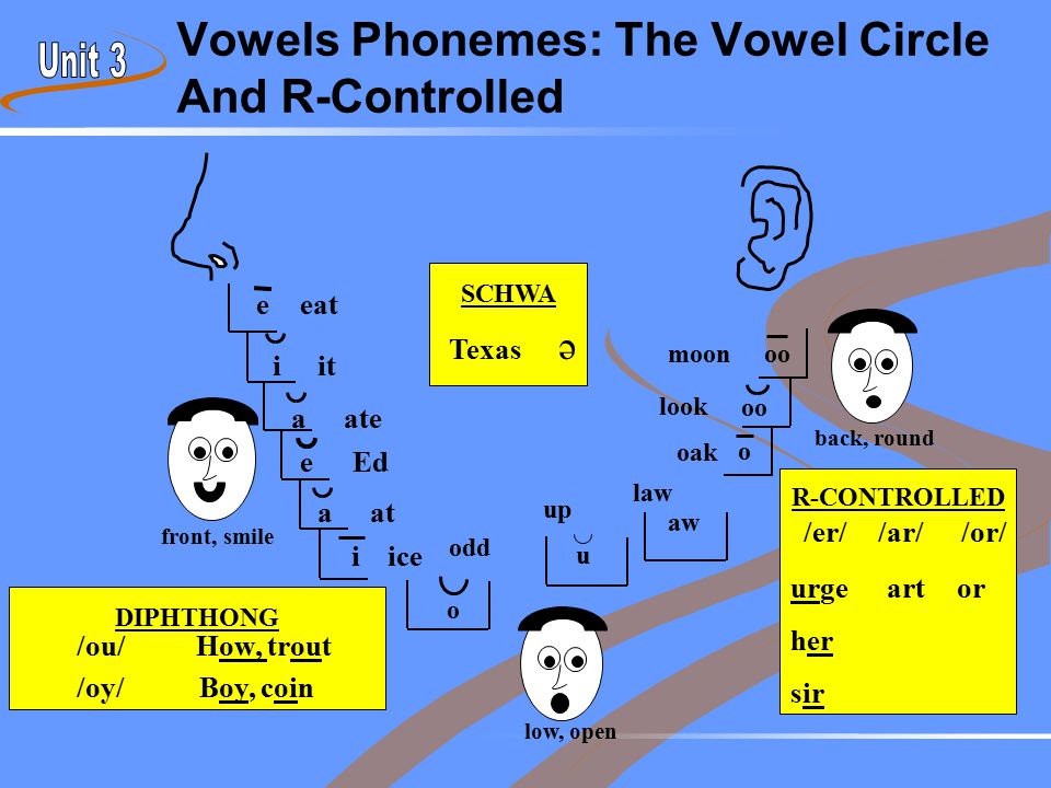 R-CONTROLLED Vowels Phonemes: The Vowel Circle And R-Controlled low, open back, round front, smile /er/ urge her sir /ar/ art /or/ or DIPHTHONG /ou/Ho