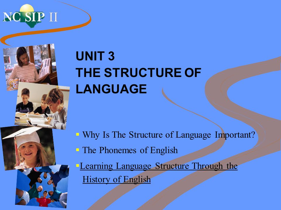 UNIT 3 THE STRUCTURE OF LANGUAGE  Why Is The Structure of Language Important?  The Phonemes of English  Learning Language Structure Through the His