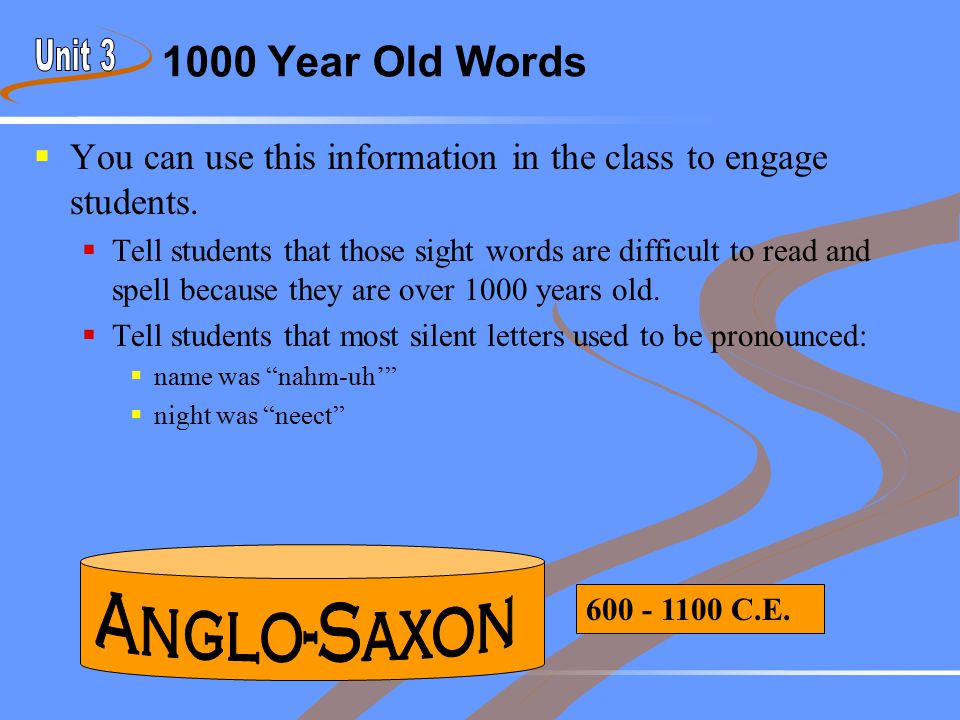 1000 Year Old Words  You can use this information in the class to engage students.  Tell students that those sight words are difficult to read and s