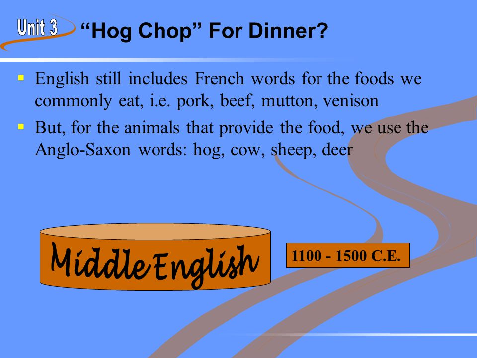 """Hog Chop"" For Dinner?  English still includes French words for the foods we commonly eat, i.e. pork, beef, mutton, venison  But, for the animals th"