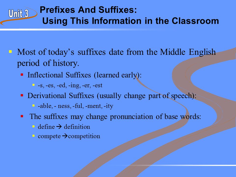 Prefixes And Suffixes: Using This Information in the Classroom  Most of today's suffixes date from the Middle English period of history.  Inflection