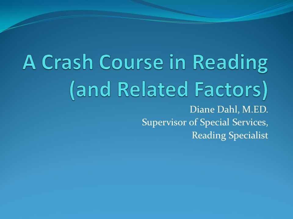 Diane Dahl, M.ED. Supervisor of Special Services, Reading Specialist