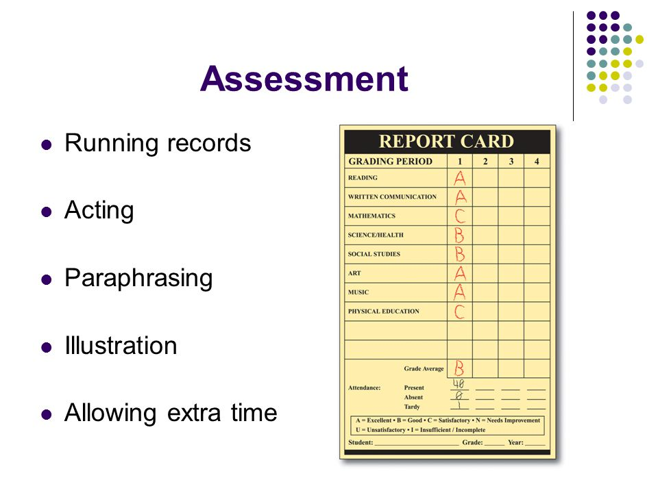 Assessment Running records Acting Paraphrasing Illustration Allowing extra time