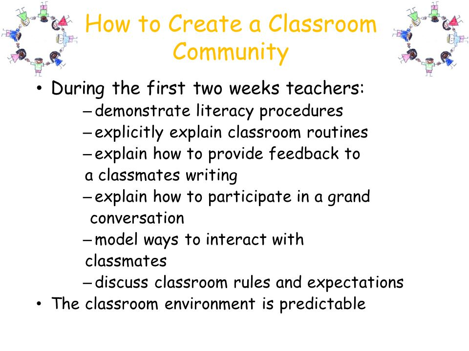 How to Create a Classroom Community During the first two weeks teachers: – demonstrate literacy procedures – explicitly explain classroom routines – e