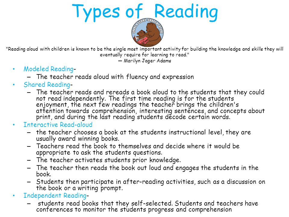 Types of Reading Modeled Reading- – The teacher reads aloud with fluency and expression Shared Reading- – The teacher reads and rereads a book aloud t