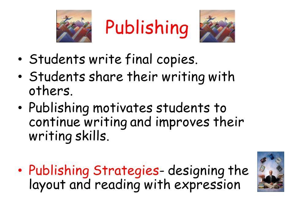 Publishing Students write final copies. Students share their writing with others. Publishing motivates students to continue writing and improves their