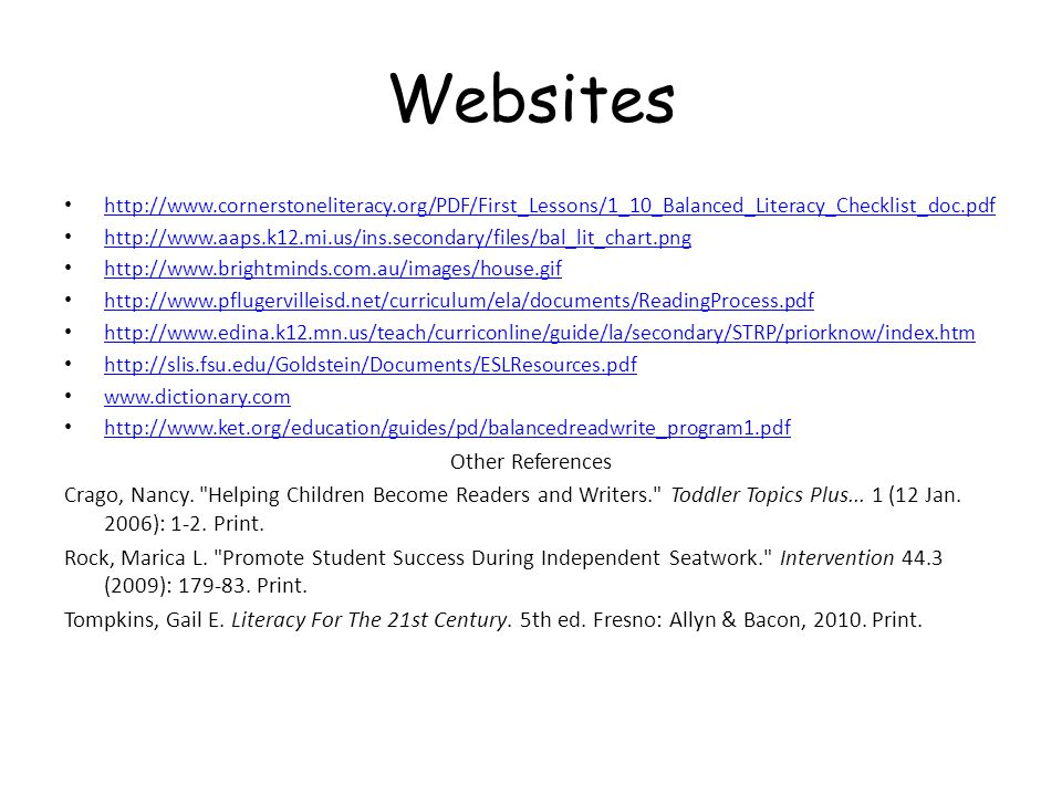Websites http://www.cornerstoneliteracy.org/PDF/First_Lessons/1_10_Balanced_Literacy_Checklist_doc.pdf http://www.aaps.k12.mi.us/ins.secondary/files/b